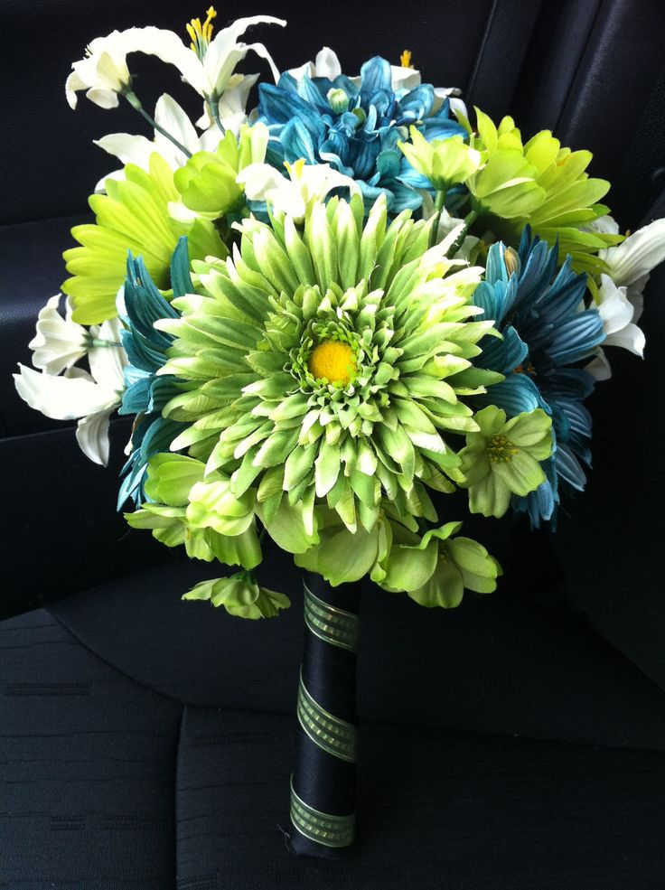Teal Wedding Bouquet, Gerbera Daisy Bridal Bouquet, Green and Blue Wedding Flowers. $85.00, via Etsy.