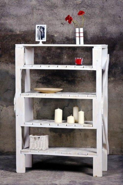 Estanteria blanca, muebles con pallets de Probosc