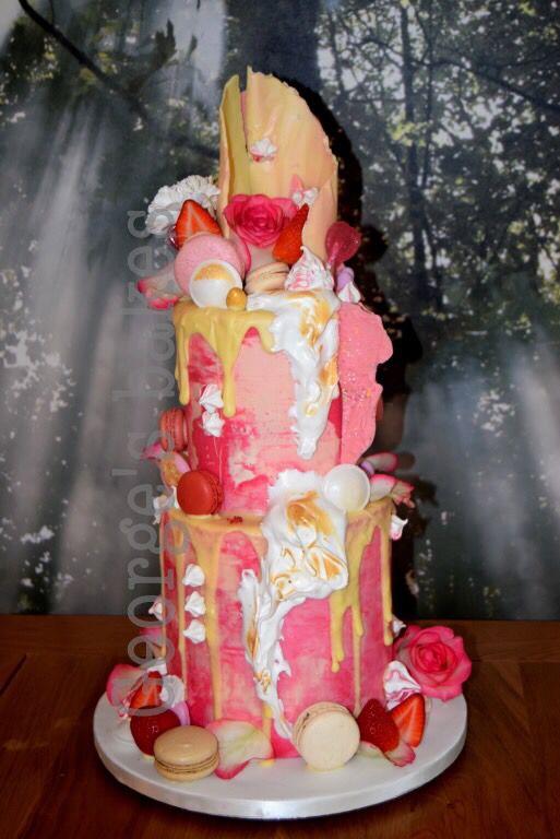 Ganache drip cake with water colour buttercream