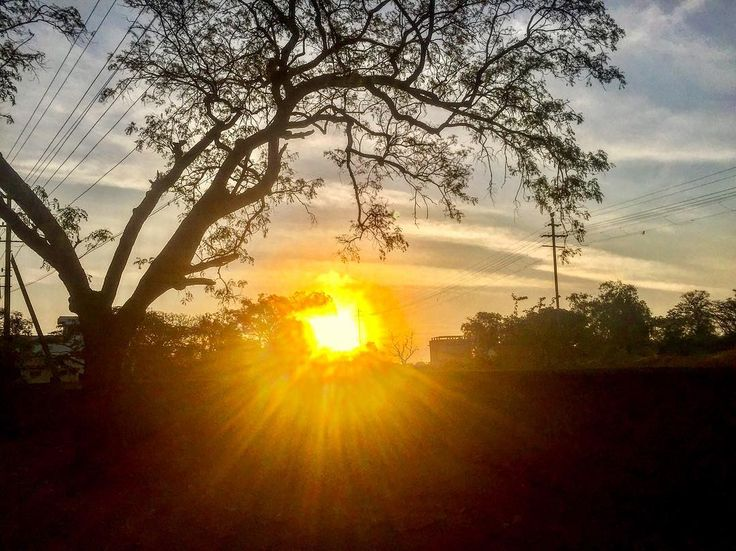 #clouds #hotday #sunnyday #longjourney #beautiful #gadag #trees #sunset #village #sun #sunrays