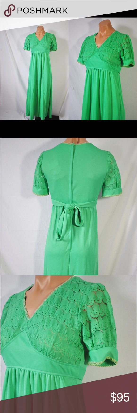 Vintage 60s Green Empire Waist Maxi Dress Vintage 70s Summer Boho Festival Dress   Green with a maxi length.  Has an empire waist, and a crocheted top.  Zips up in the back.  Unlined.   Material: 100% Textured Polyester   Measurements. (Measured Lying Flat.)  Bust: 30 in.  Waist: 24 in.  Hips: 36 1/2 to 38 in.  Length: 50 in. Vintage Dresses Maxi