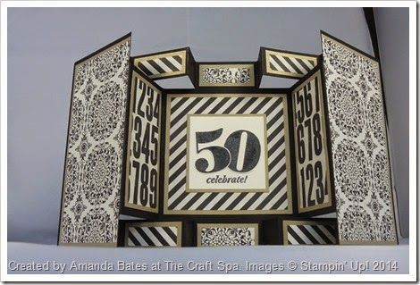 Large Square Double Display Card. Imperial Tutorial by Amanda Bates at The Craft Spa. Independent Stampin Up Demonstrator UK. Typeset papers. Male Card.