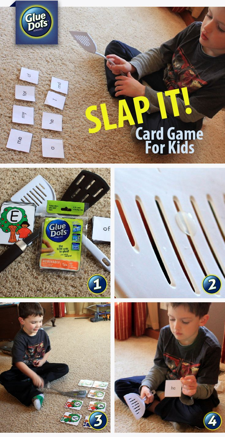 """Is the weather keeping you inside? Play the """"Slap It"""" flash card game with the kids. All you need are Removable #GlueDots, a spatula and flash cards."""