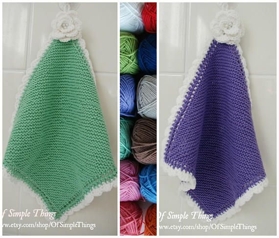 100% Cotton Hand Knitted Hand Towel/ Facecloth with Crocheted