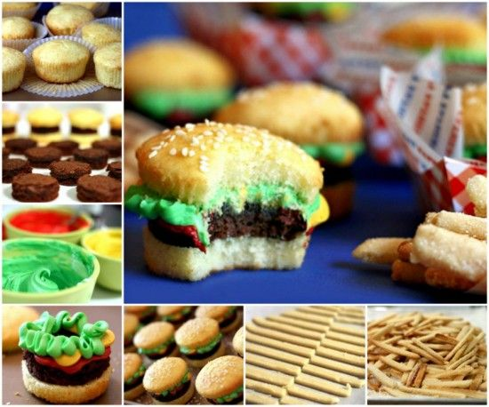 Burger Cupcakes and Fries Party Food