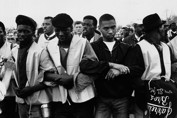 March 1965: Participants in a black voting rights march through Alabama. On the third attempt, Dr Martin Luther King successfully led the march from Selma, Alabama, to the state capital in Montgomery