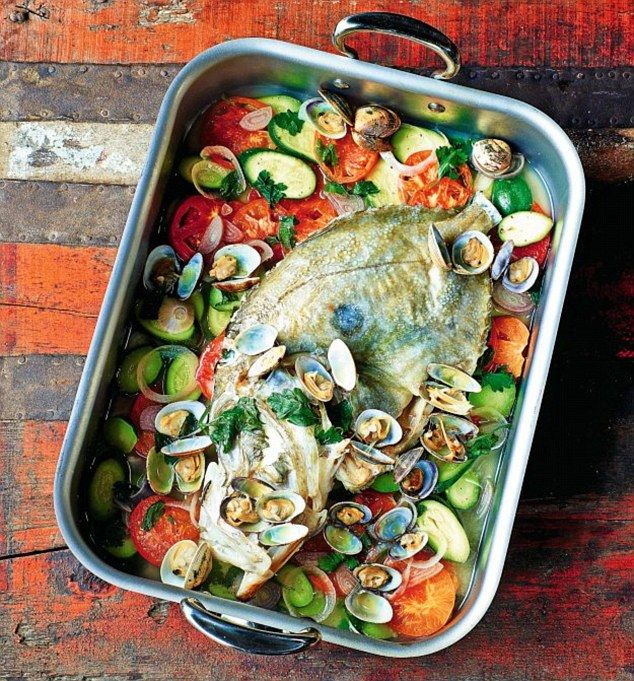 Whole John Dory with Clams and Courgettes - get recipe here: http://www.dailymail.co.uk/femail/article-4188198/France-s-finest-James-Martin-John-Dory.html