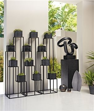 Black Metal Plant Stand Outdoor Patio Yard Pinterest Garden Plants And Planters