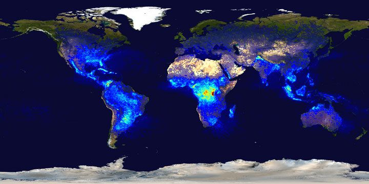 This heat map highlights lightning strikes around the world. Areas with warmer colors (red and yellow) receive more lightning per square kilometer than regions in blue. Central Africa is subject to the most lightning; polar regions see the least.