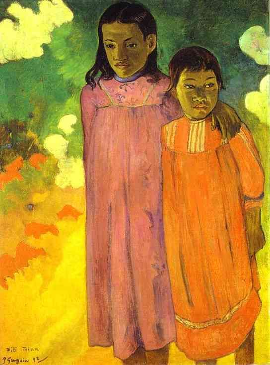"""Piti Teina. (Two Sisters)"" by Paul Gauguin  love the brightness of the colors"