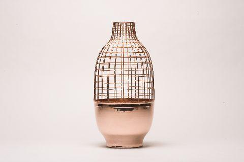 copper grid vase