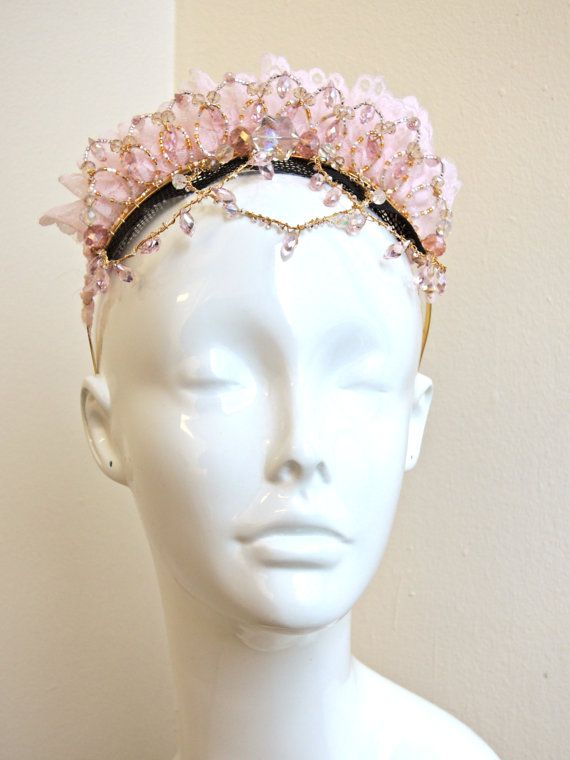 Professional Ballet Tiara Pink Lace Headpiece By