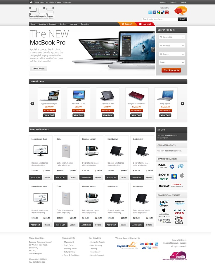 Web site designed for computer shop in UK