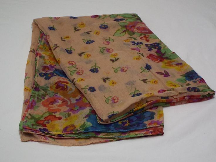 Pretty Field of Multi-Color Flowers on a Soft Pale Pink Background Oblong Scarf  | eBay