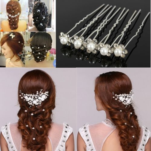 Hot 20 PCS Lovely Wedding Bridal Hairpin Crystal Rhinestone Pearl Flower Hair…