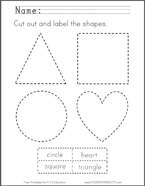 cut out and label the shapes printable free to print pdf file kindergarten shapes. Black Bedroom Furniture Sets. Home Design Ideas