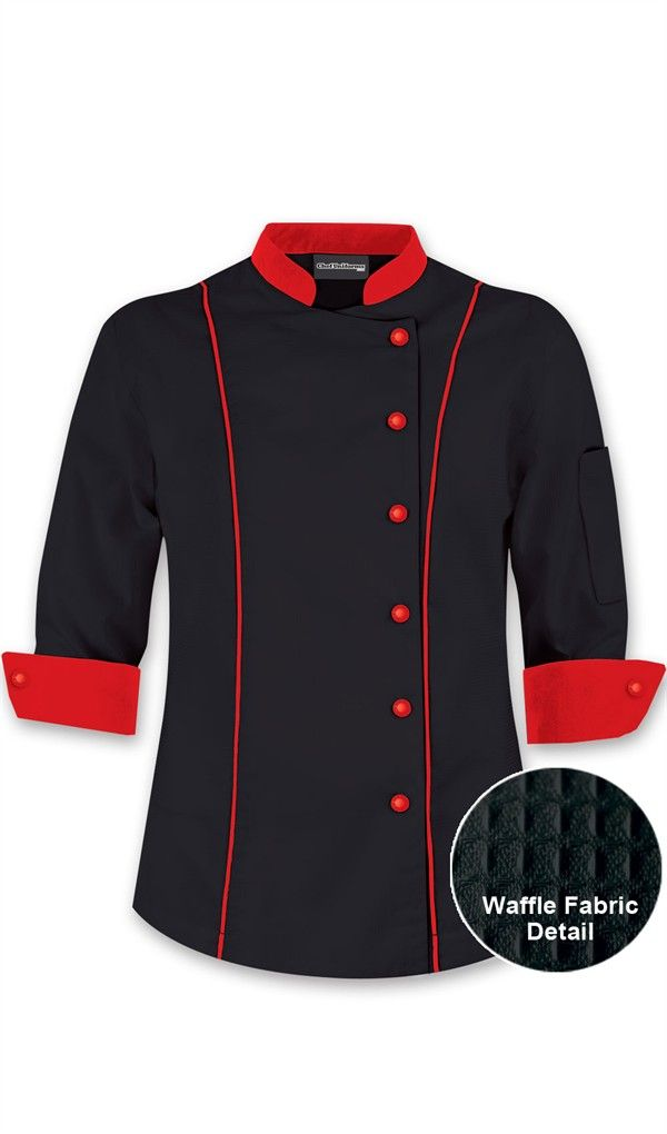 Women's 3/4 Sleeve Traditional Chef Coat - Contrast Trim $27.99 http://www.chefuniforms.com/chef-coats/womens-chef-coats/womens-traditional-chef-coat.asp?frmcolor=whtbl