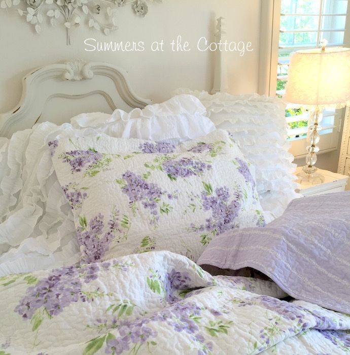 SHABBY COTTAGE CHIC LAVENDER WISTERIA LILAC QUILT / PILLOW SHAMS