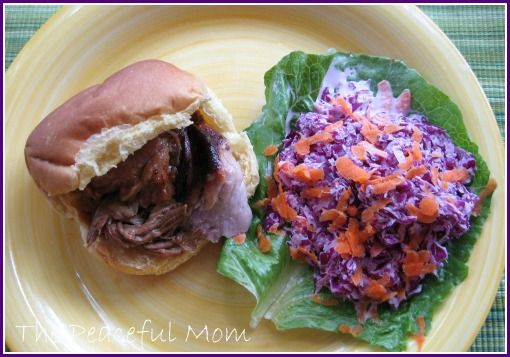 BBQ Pork Sliders with Red Cabbage Coleslaw--soooo easy and soooo good!  -The Peaceful MomMenu Plans, Cabbages Coleslaw Soooo, Coleslaw Soooo Easy