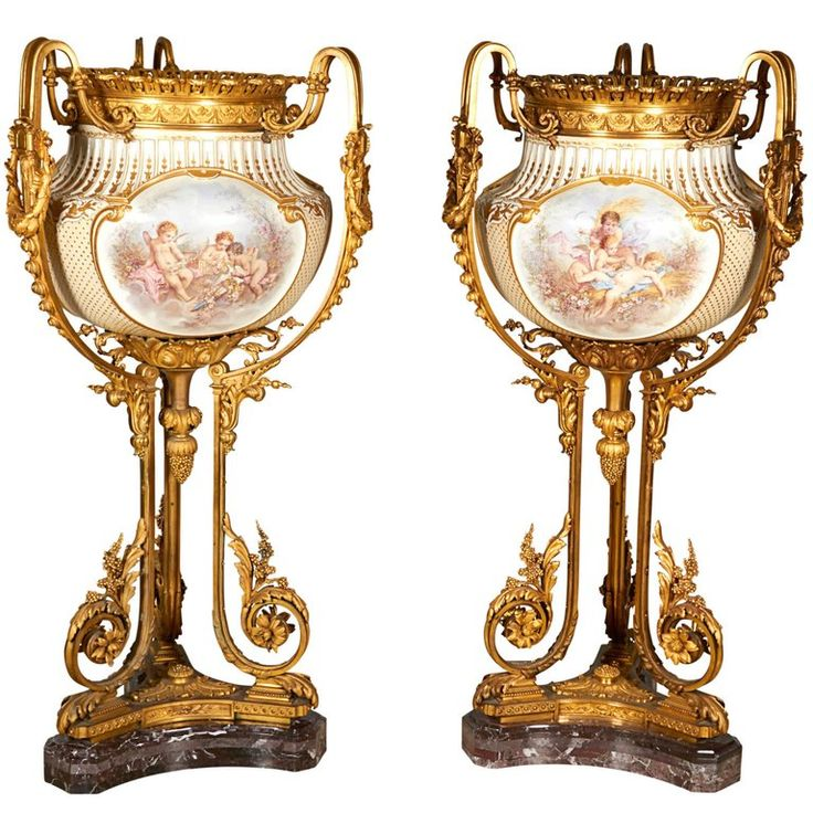 Important and Monumental Pair of Ormolu and Sèvres Style Porcelain Jardinieres | From a unique collection of antique and modern vases and vessels at https://www.1stdibs.com/furniture/decorative-objects/vases-vessels/