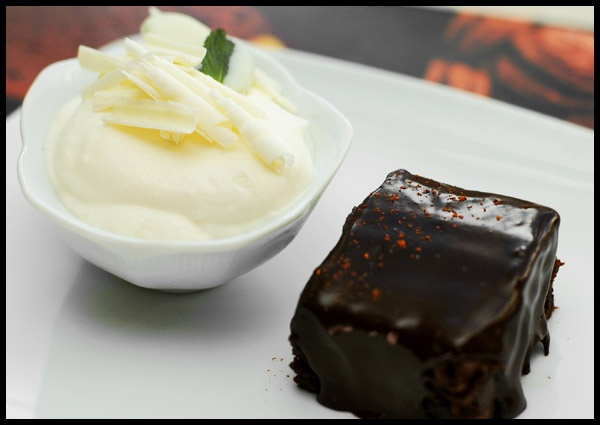 Mint White Chocolate Mousse with Dark Chocolate-Chile Brownies and Chocolate Ganache Glaze