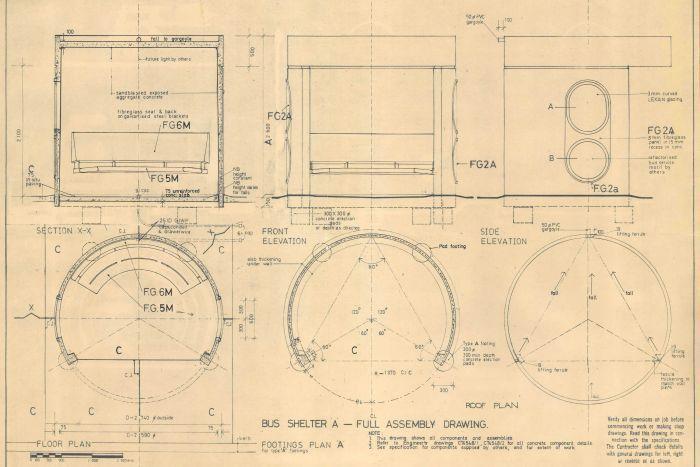 Plan for concrete bus shelter