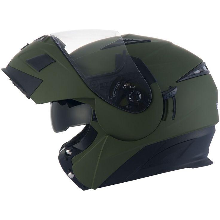 Capacete Zeus 3020 Verde Fosco (Escamoteável)