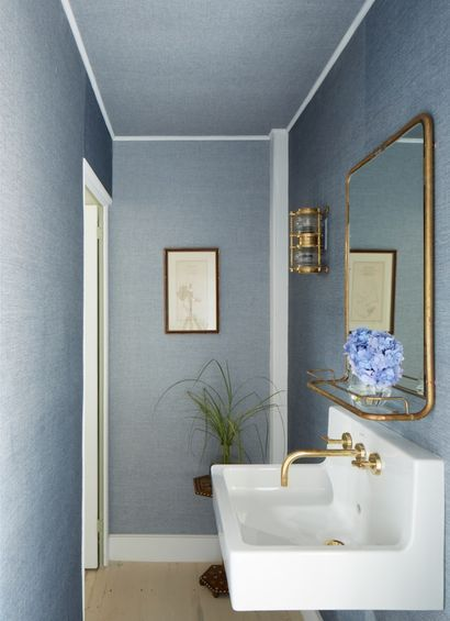 smokey blue linen bathroom—plus ceiling! ASH NYC