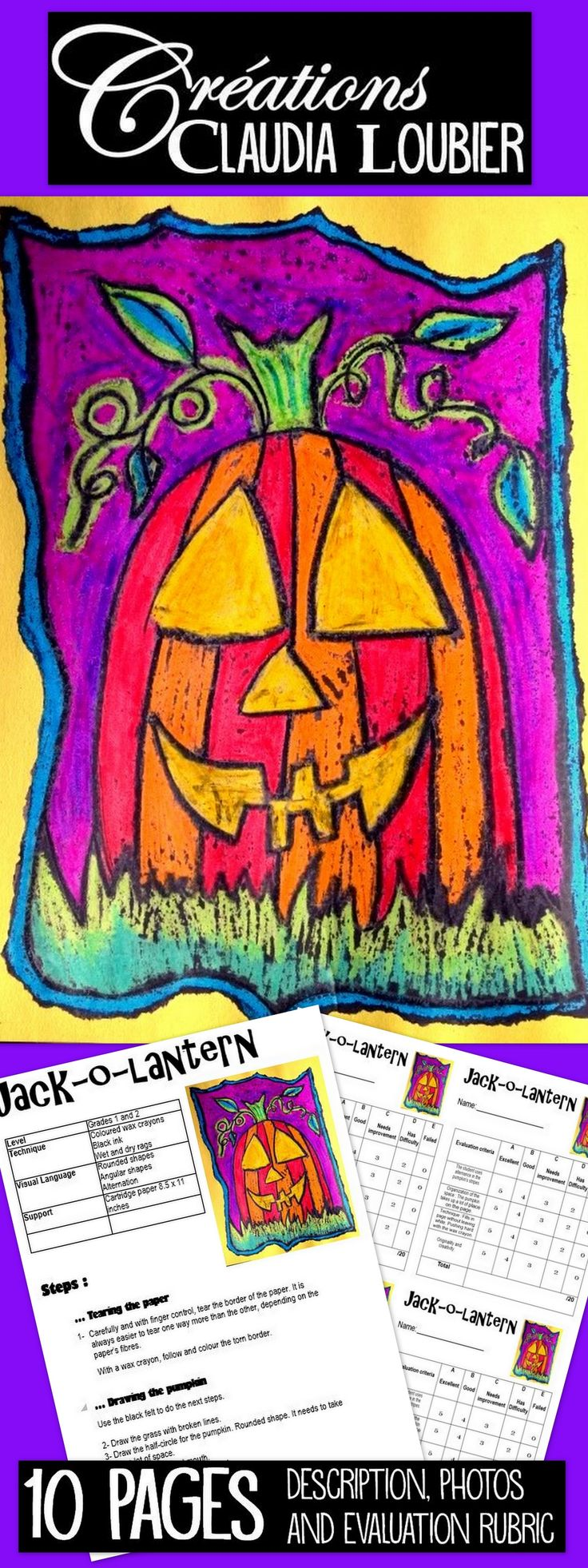 Art activity for Grades 1 and 2. Create a beautiful pumpkin while working on alternance with your students.  You need wax crayons and ink.  Draw the pumpkin in 5 easy, well illustrated steps.  Evaluation rubric is included.