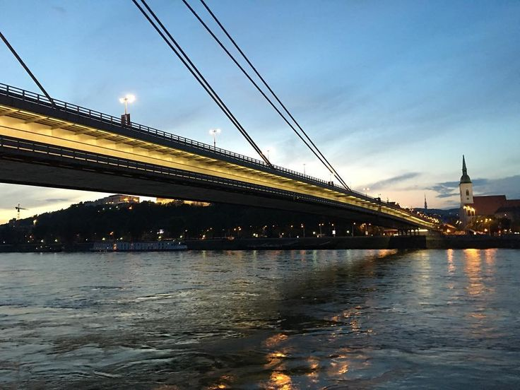 The SNP bridge in Bratislava Slovakia  ___ #SNP #bridge #Bratislava #Slovakia #architecture #light #water #river #Danube #Slovensko #evening #sunset #sky #colors #nofilter #noedit