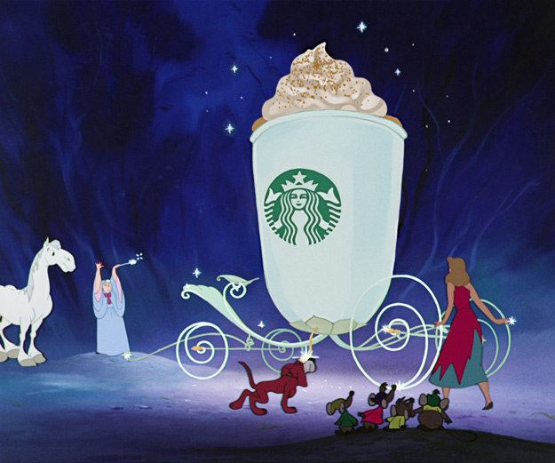 Cinderella's fairy godmother wouldn't turn a pumpkin into a boring old carriage, instead, she would turn it into the most magical thing of all: a pumpkin spice latte. | Disney Princesses Who Are So Freakin' Ready For Fall