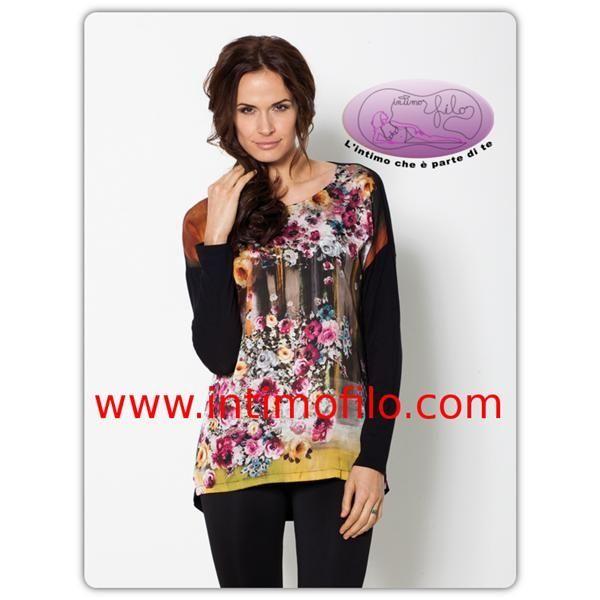 Maximaglia donna Levante con fantasia floreale multicolor manica lunga.