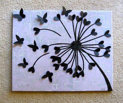 Löwenzahn Kunst gemacht mit Cardstock Ausschnitte von Herzen und Schmetterlinge  * Lavendel/grau wieder Boden mit schwarze Blume  Leinwand (16 x 20) mit Acrylfarbe bemalt  Ausschnitte mit heavy-Duty Bastelkleber eingehalten  Besprüht mit klaren Glanz-Lack, UV-Schäden zu verhindern  Ideal für: -baby-Baumschulen -Kinder Zimmer -Teenager-Mädchen-Zimmer -Naturfreunde -Engagement-Geschenke -Hochzeit Geschenke -Jahrestag Geschenke -Housewarming Geschenke -Anweisung Stück