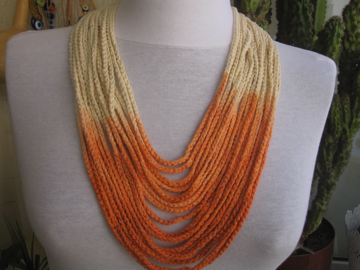 hand dyed crochet necklace