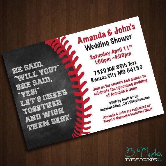 Baseball Themed Wedding Shower Invitation by B. Murley Designs (on Etsy) is ridiculously cute! I know a bride-to-be who would LOVE this!