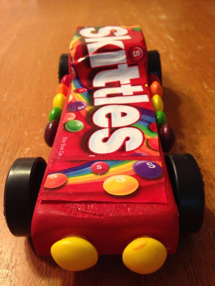 Skittles powder puff derby car. Pinewood derby.