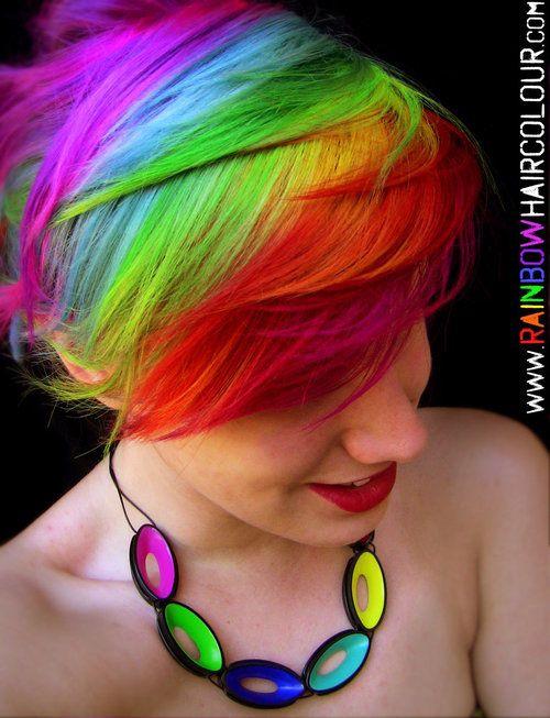 rainbowhairedpeople:  Rainbow Hair Art by ~littlehippy