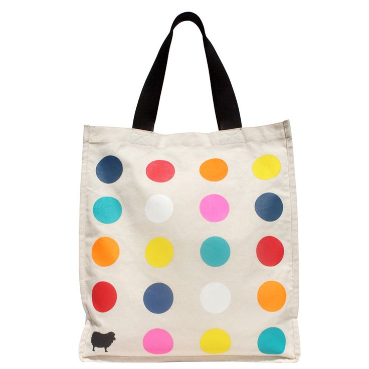 Are you the black sheep? Super cool dotty tote. Multi-coloured bag, we love !