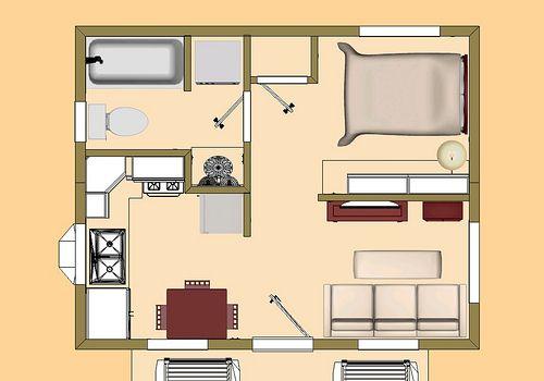 "tiny house floor plans | ... sq ft Tiny House Floor Plan ""Skylight Mountain"" 3D Top Floor Plan View"