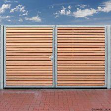 Einfahrtstor 200 x 160cm 2-flügelig Verzinkt + Holz Tor Gartentor Holztor NEU