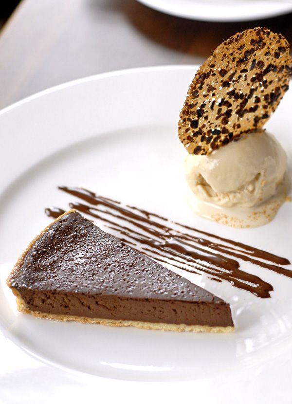 Chocolate tart with Baileys ice cream