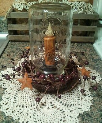 Primitive mason jar chicken feeder candle holder/lamp TIMER CANDLE country decor