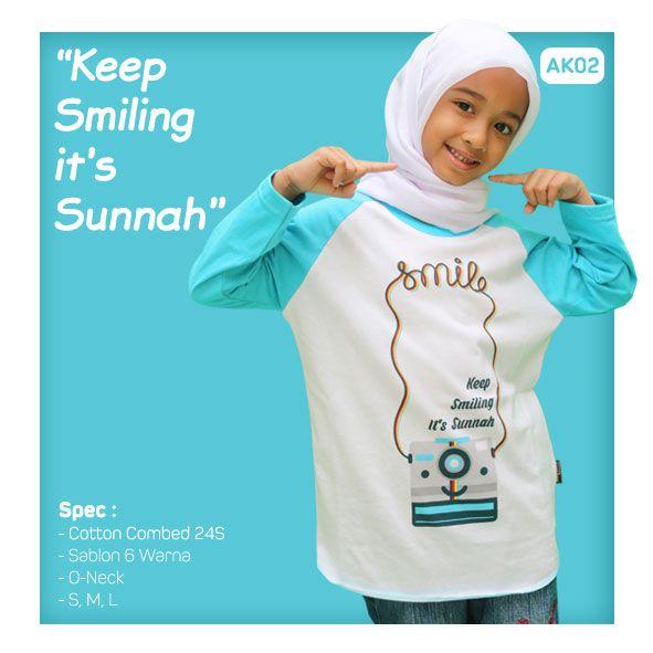 Kaos Anak Muslim Bilhikma AK02 Tema : Keep Smiling Its Sunnah