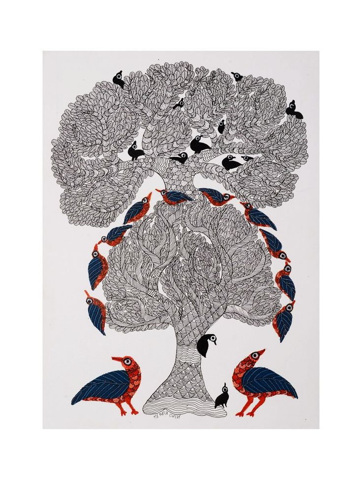 Buy Multi Color Bird Tree Gondh Painting By Subhash Vyam 15in x 11in Paper Acrylic Permanent Ink Art Decorative Folk of Good Fortune Tribal Gond from Madhya Pradesh Online at Jaypore.com