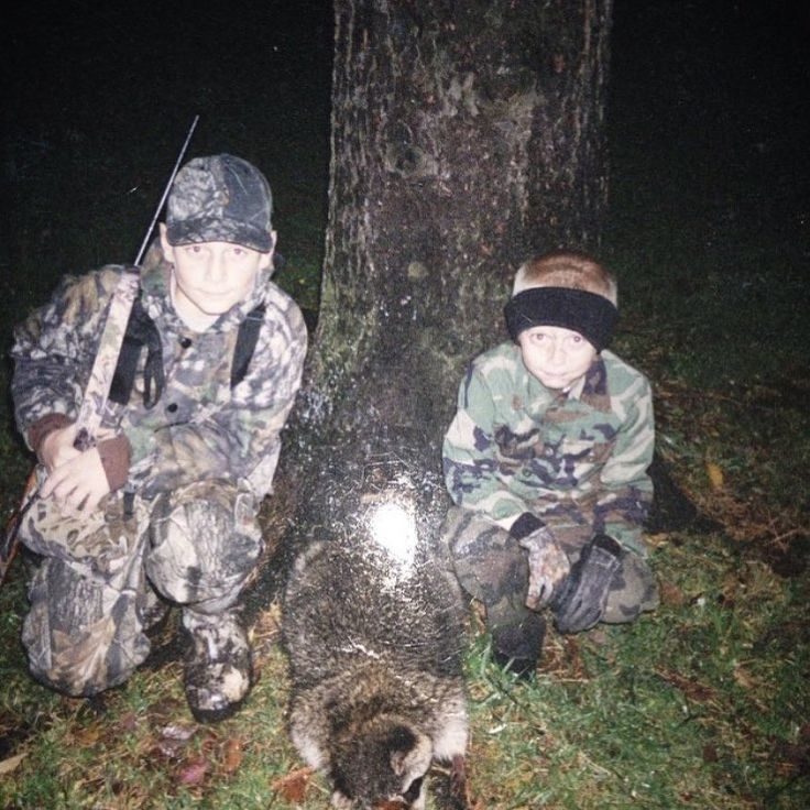 TBT... I'm on left and brother @jharvey07 on right we were out squirrel hunting in the evening and found this guy up in one of our dads tree stands.. we had to run back to the house and get a wheel barrel to bring him back up to the house he weighed 54lbs!! #throwbackthursday #huntinglife #hunters #racoon #22marlin #hunt #hunting #huntgram http://misstagram.com/ipost/1553190951885974399/?code=BWOCvELg6t_