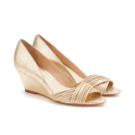 Loeffler Randall Annabel Wedge | Pale gold metallic leather | Annabel mignon wedge sandal in pale gold cracked metallic leather. | 60mm covered wedge and leather sole. | Sale $245.00