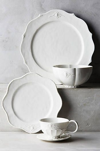 Ville Fleur Dinner Plate at Anthropologie. for the french country kitchen, or farmhouse dining room. Feminine but simple. white ceramic plates