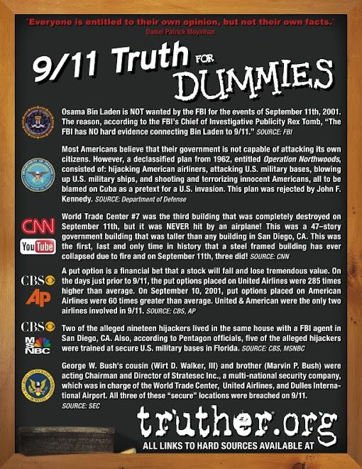 9/11 Truth for Dummies(( the info that we were told that proves there's more to the story,, all in a little nutshell for pinterest))
