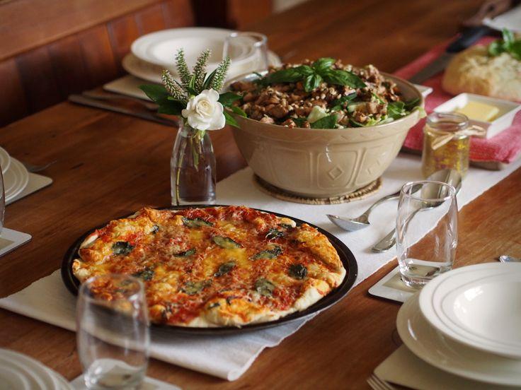 Italian dinner. Pizza & Pasta salad.