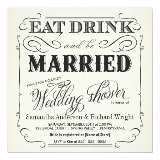 Eat, Drink U0026 Be Married Chalkboard Wedding Card. See More. Elegant Coupleu0027s  Wedding Shower Invitations